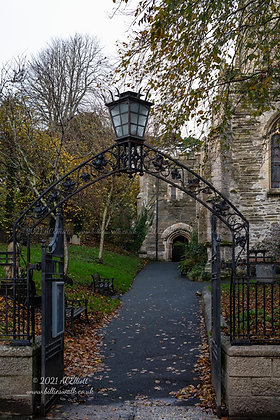 An autumnal entrance to Fowey Parish Church photo and fine art print