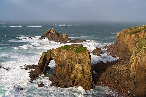 Enys Dodnan Arch and Armed Knight Rock