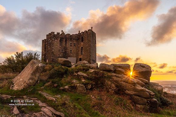 Carn Brea Castle sunburst