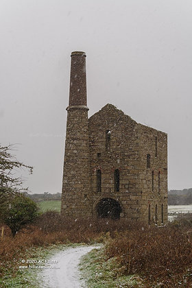 Snow falling around Cornish Engine House at South Wheal Frances photo and fine art print