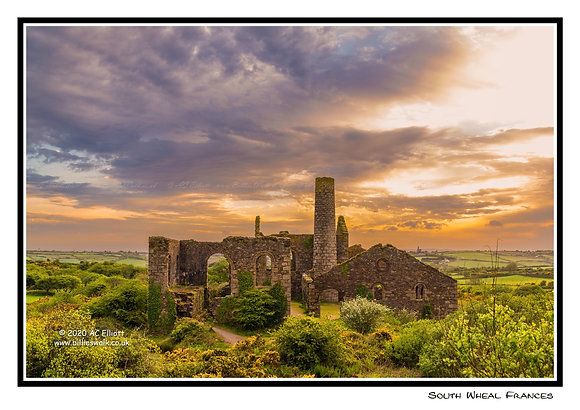 South Wheal Frances Mine sunset Greeting Card