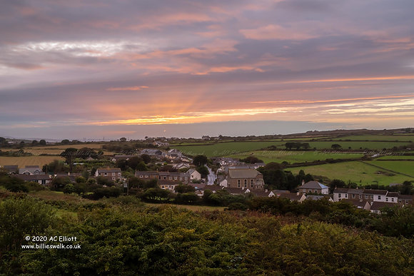 Carnkie village under sunset sky photo and fine art print
