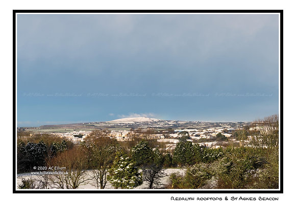 Redruth rooftops and St Agnes Beacon