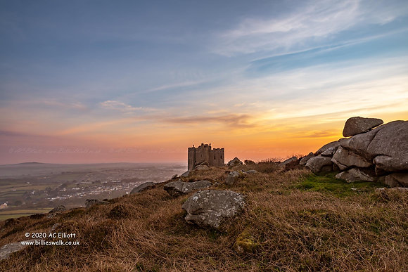 Carn Brea Castle and Redruth sunrise photo and fine art print