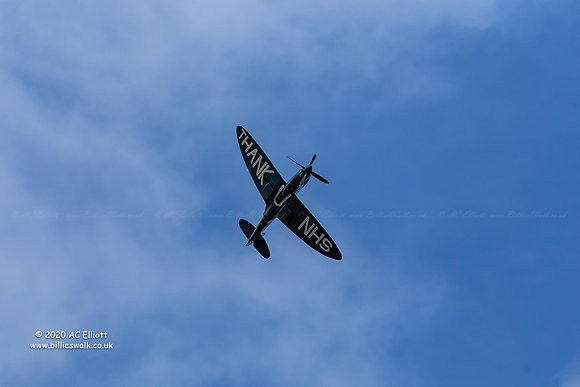 Thank U NHS Spitfire over Redruth photo and fine art print