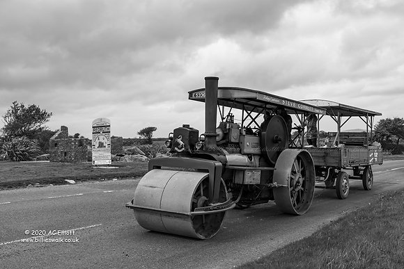 Vintage Steam Roller at Redruth in black & white photo and fine art print