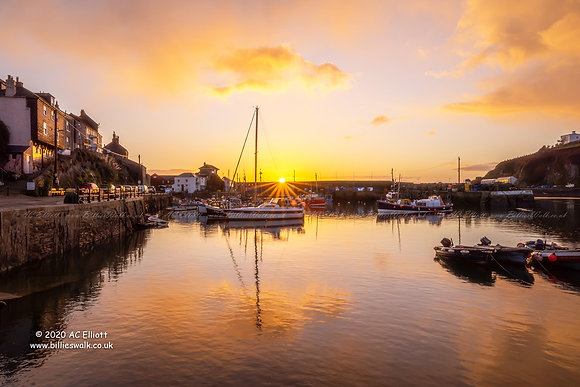 Mevagissey Harbour sunrise Photograph and Fine Art Print