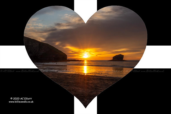 Sunset at Portreath Beach and Gull rock set into a St Piran's Heart photo and fine art print