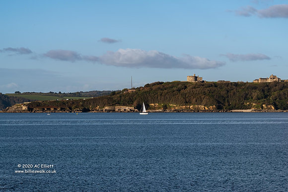 A sailboat passing Pendennis Head, Falmouth photo and fine art print