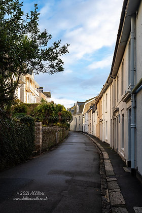 Sunlit houses on the Esplanade, Fowey photo and fine art print