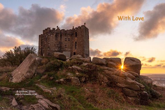 Carn Brea Castle sunburst E-Card