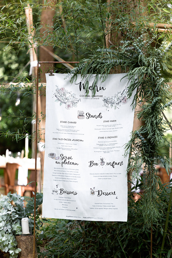 Menu printed on fabric