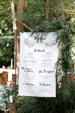 Menu printed on fabric