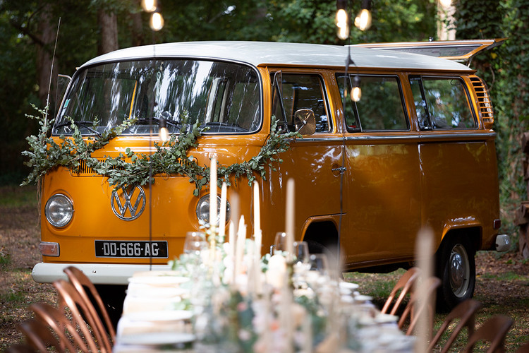 Wedding setting with vintage van