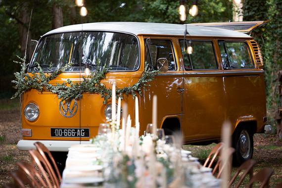 Wedding setting with vintage van