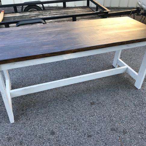 Straight Leg Desk: Dark Walnut and white distressed legs
