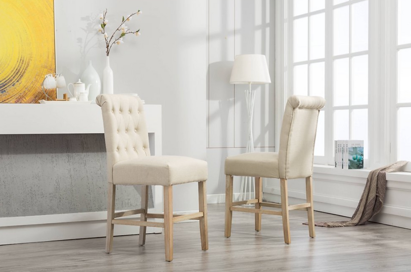 Fabric Tufted Counter Height Stool