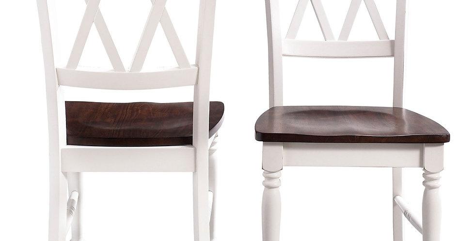 X Style Walnut Farmhouse Chairs (Set of 2)
