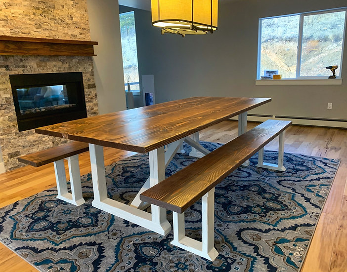 Walnut Original Style Farmhouse Table and Bench