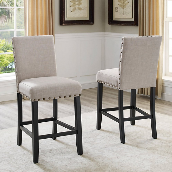 Buttoned Upholstered Counter Height Stool