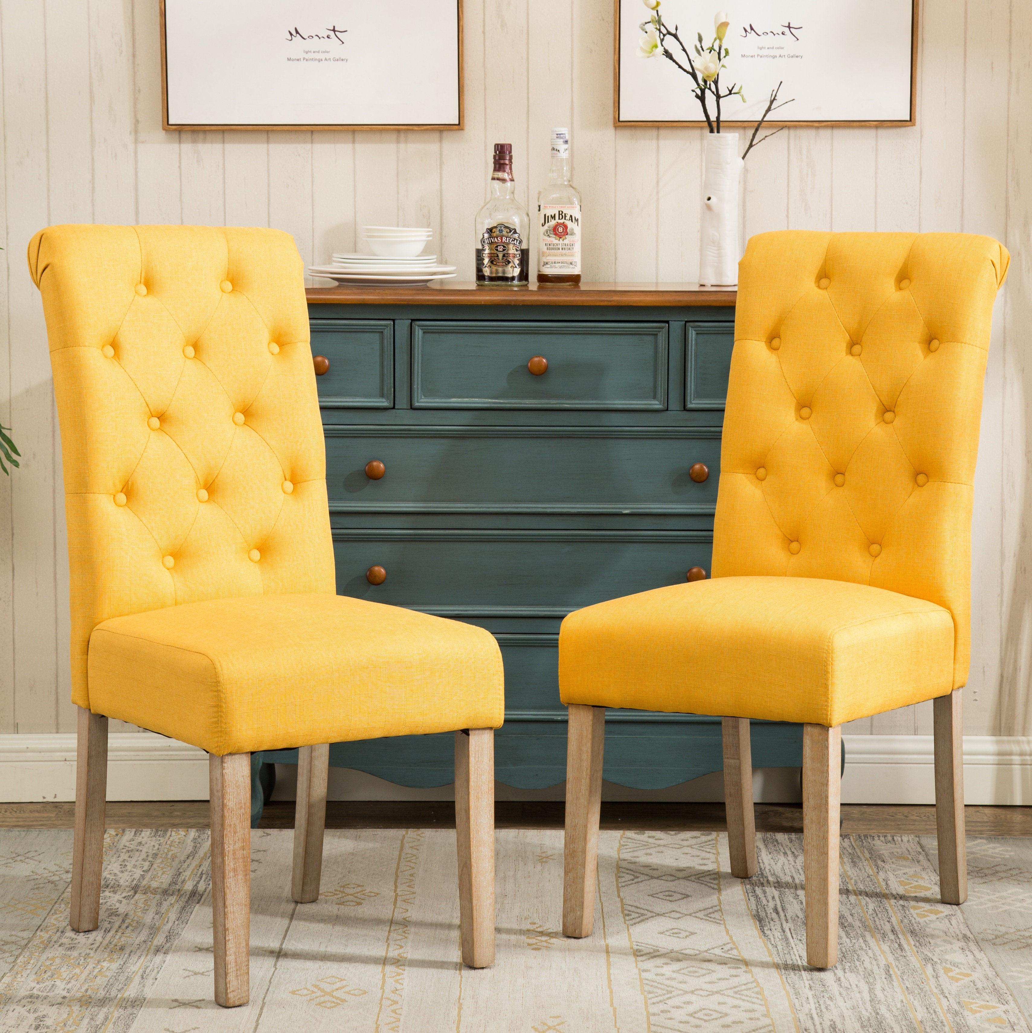 Fabric Tufted Dining Chair Five Color Option | Coastal ...