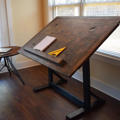Custom Drafting Table: Dark Walnut