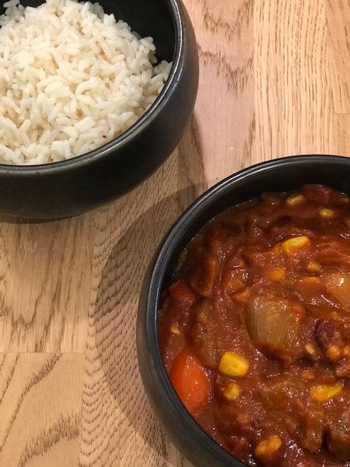 Chilie sin Carne - rijst (Vegan)