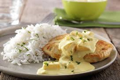 Kippenfilet curry-appel-ananas