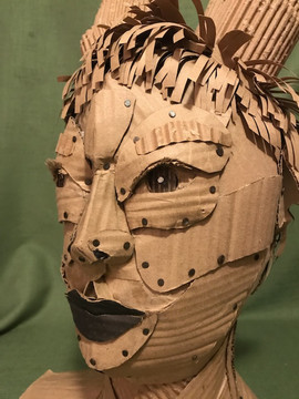 """Sasha Azar """"Personality""""  2020 24"""" x 14"""" x 10"""" Carboard, nails, paint  Instructor: Erin Cunningham Core Studio: 3D"""