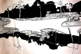 Caden Zips 100,000 Square Feet Ink on paper  18inx14in Core Drawing Peter Abrami