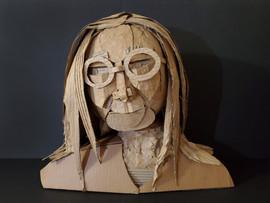 "Elly Kang  Untitled (Self Portrait)  2020 16"" x 19"" x 8"" Cardboard  Instructor: Erin Cunningham Core Studio: 3D"