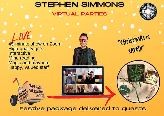 Virtual parties magician Stephen Simmons