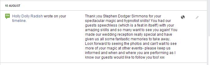 Stephen Simmons wedding Magician