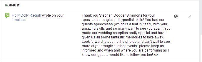 Stephen Simmons wedding Magician