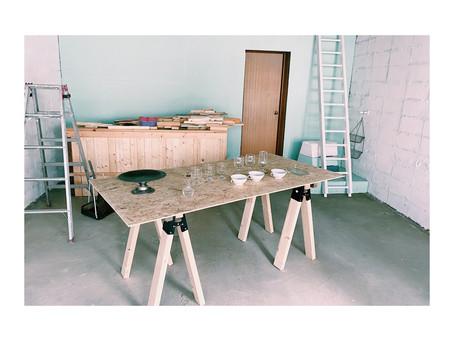 棚の搬入と電気工事