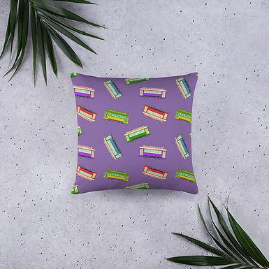 Street Cars Purple Print Pillow