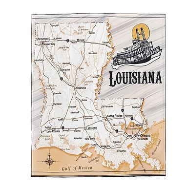 Lousiana Map Blanket