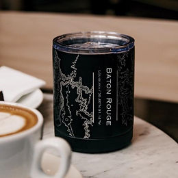 Baton Rouge Map Insulated Cup in Matte Black