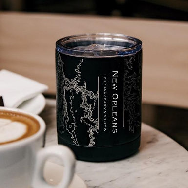 New Orleans Map Insulated Cup in Matte Black