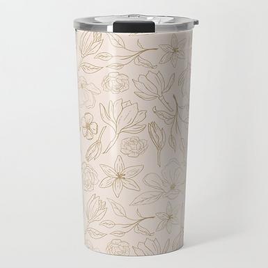 Gold Magnolia Travel Mug