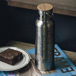 Baton Rouge Map Bottle with Bamboo Top