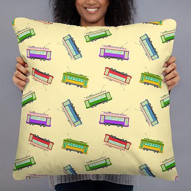Street Cars Yellow Print Pillow