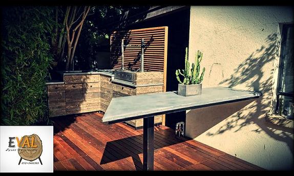 דק, מטבח חוץ , מנגל שולחן בטון וברזל