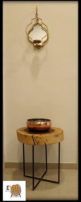 שולחן מפרוסת גזע ורגלי ברזל