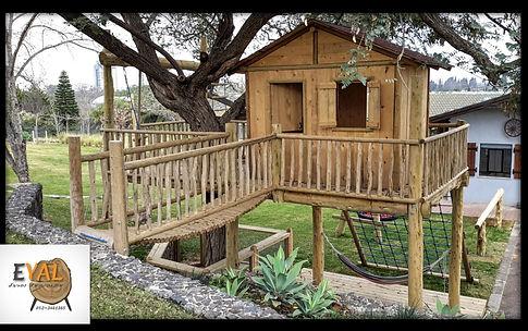 בית עץ לילדים קיר טיפוס סולם נדנדה