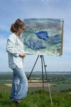 Freya painting at Milk Hill