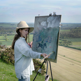 Freya working on a painting in situ, Tan Hill, Wiltshire