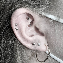 Rook, 2 Helix & Lobe Piercings