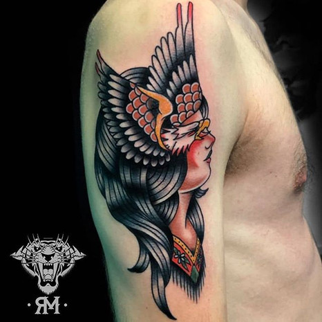 Traditional Eagle & Native Woman