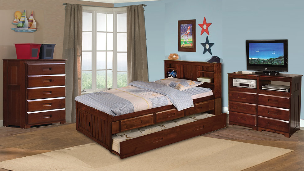Full Wooden Bed with Trundle & storage